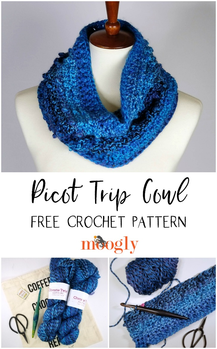 Picot Trip Cowl - free crochet pattern on Moogly, made with just 2 hanks of yarn!