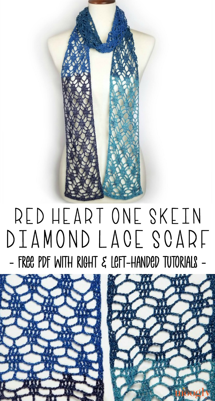 Red Heart One Skein Diamond Lace Scarf