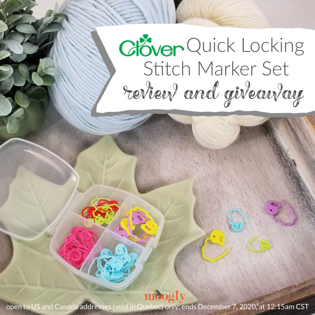Clover Quick Locking Stitch Marker Set Review and Giveaway - main labeled image of stitch markers on a tray with yarn and plant