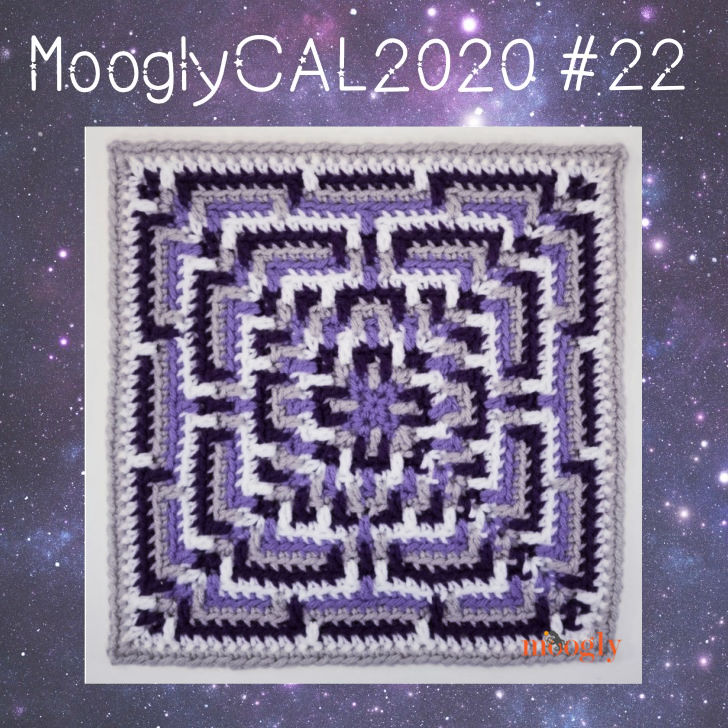 MooglyCAL2020 #22 - purple, gray, and white square labeled for the CAL