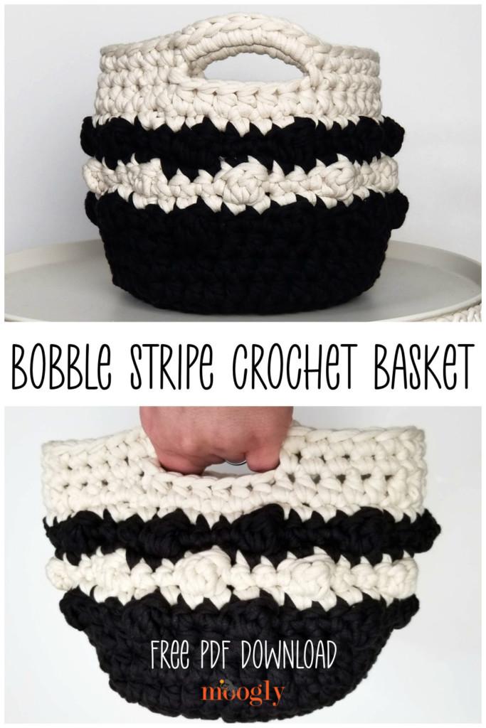 Bobble Stripe Crochet Basket Pinterest Collage