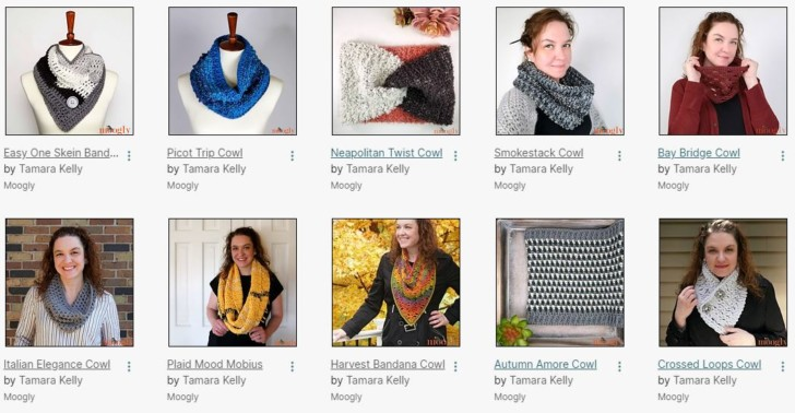 Some recent free cowl patterns on Moogly
