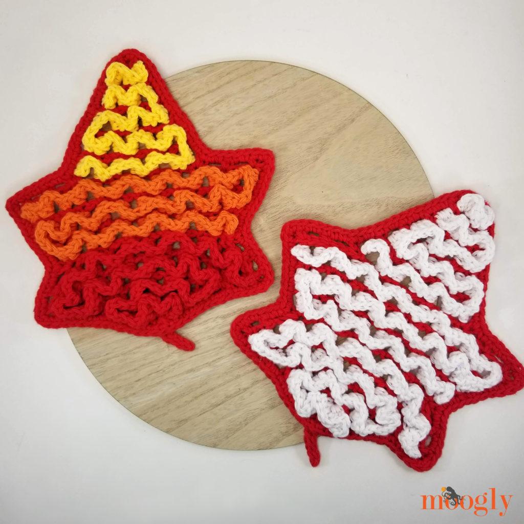 Leaf Wiggle Trivet - crochet one for each season!