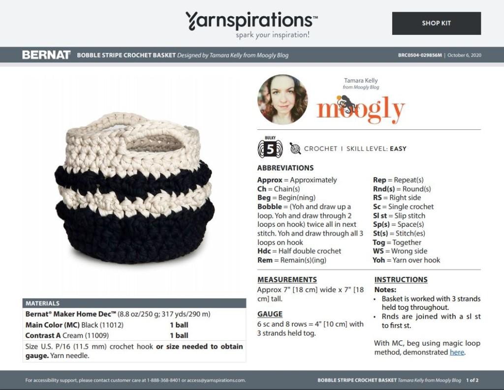 Screenshot of the PDF for the Bobble Stripe Crochet Basket