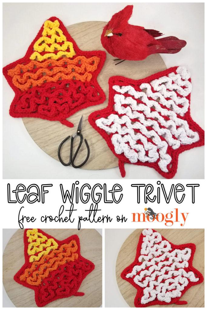 Leaf Wiggle Trivet - Pinterest collage