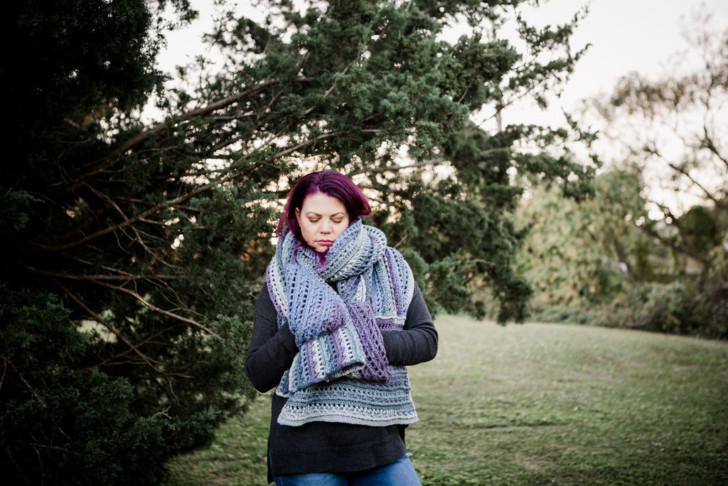 Sugar Plum Wrap by Moogly for Furls - all wrapped up on model