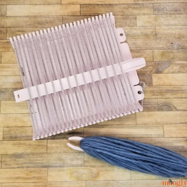 Clover Mini Weaving Loom - shuttle wound and shed stick inserted