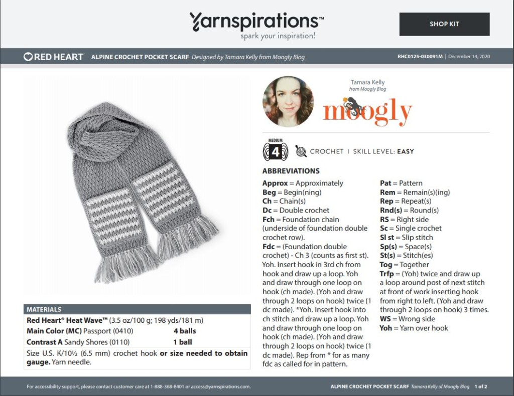 Red Heart Alpine Pocket Scarf - designed by Tamara Kelly of Moogly for Yarnspirations