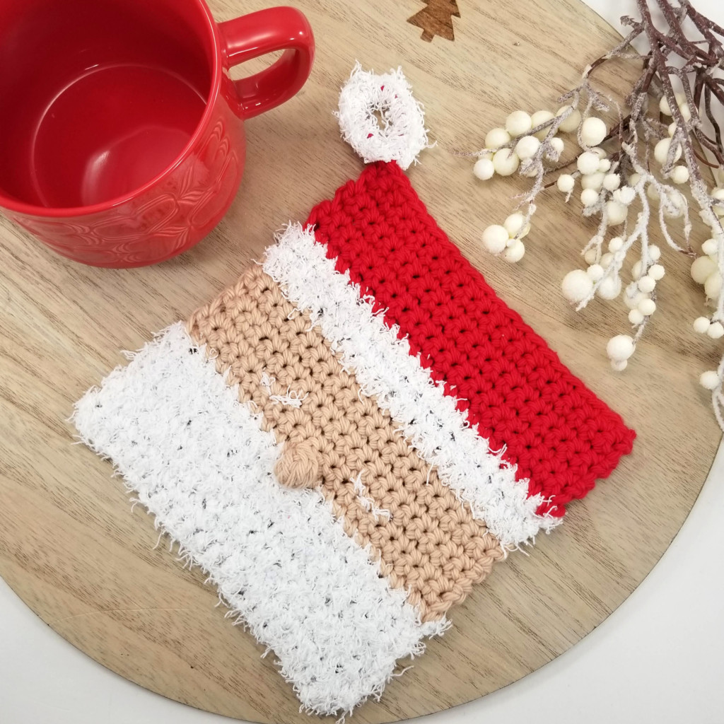 Santa Cloth Crochet Dishcloth - designed by Moogly for Yarnspirations.com