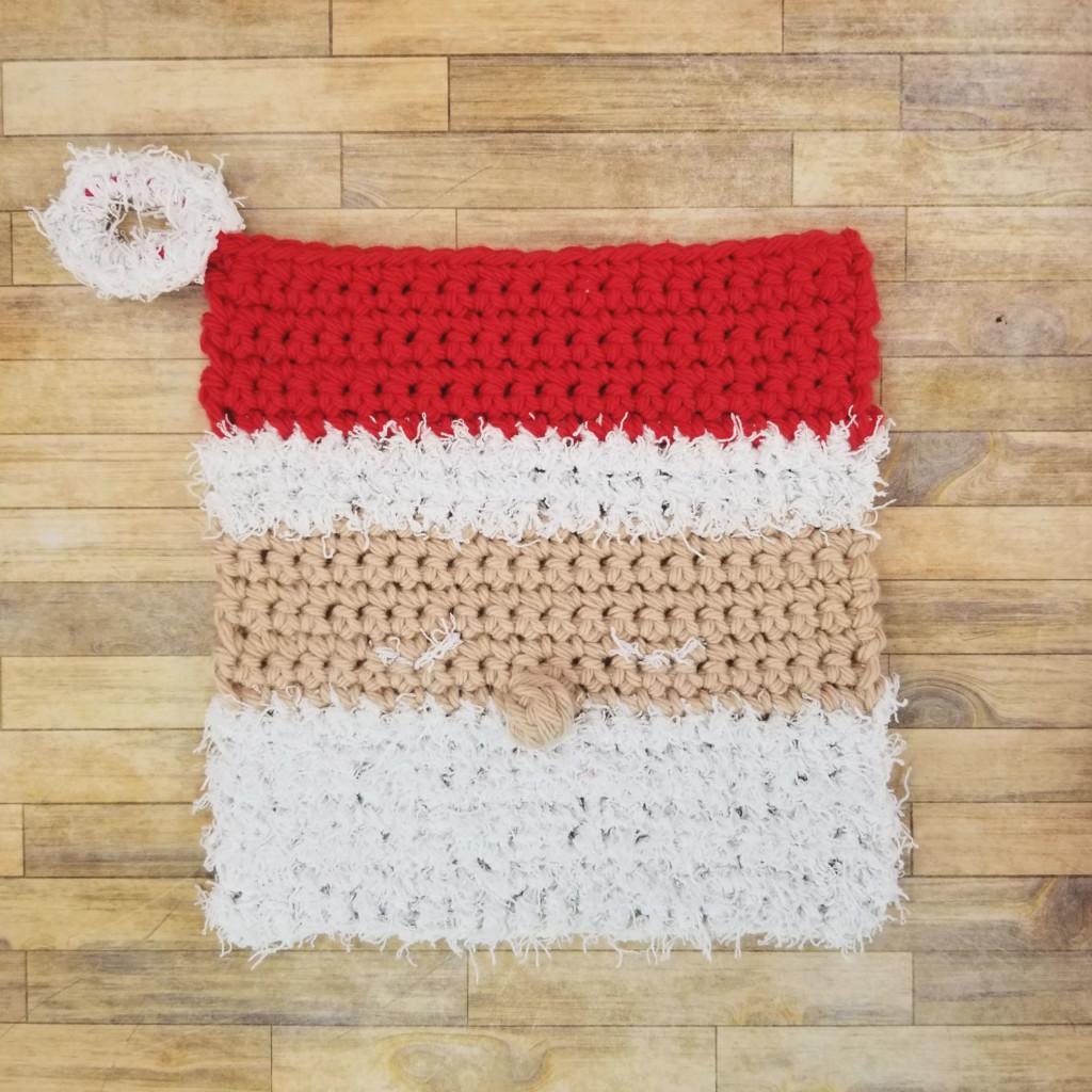 Santa Cloth Crochet Dishcloth - designed by Moogly for Yarnspirations.com