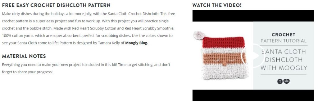 Santa Cloth Crochet Dishcloth Video Tutorial Screen Capture