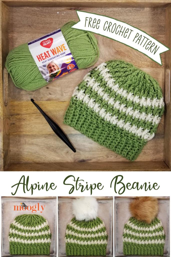 Alpine Stripe Beanie - free crochet pattern on Moogly!