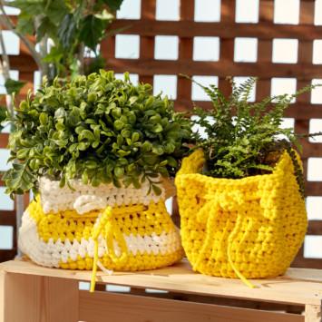 Slouchy Crochet Plant Pot Cozy