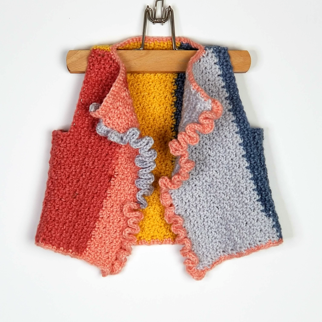 Colorblock Ruffle Front Vest by Moogly