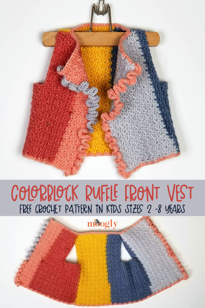 Colorblock Ruffle Front Vest - free crochet pattern on Yarnspirations by Moogly - Pinterest Collage