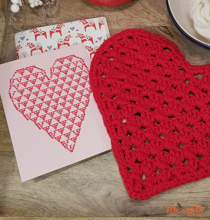 Heart Shaped Chart Card with the cloth it makes