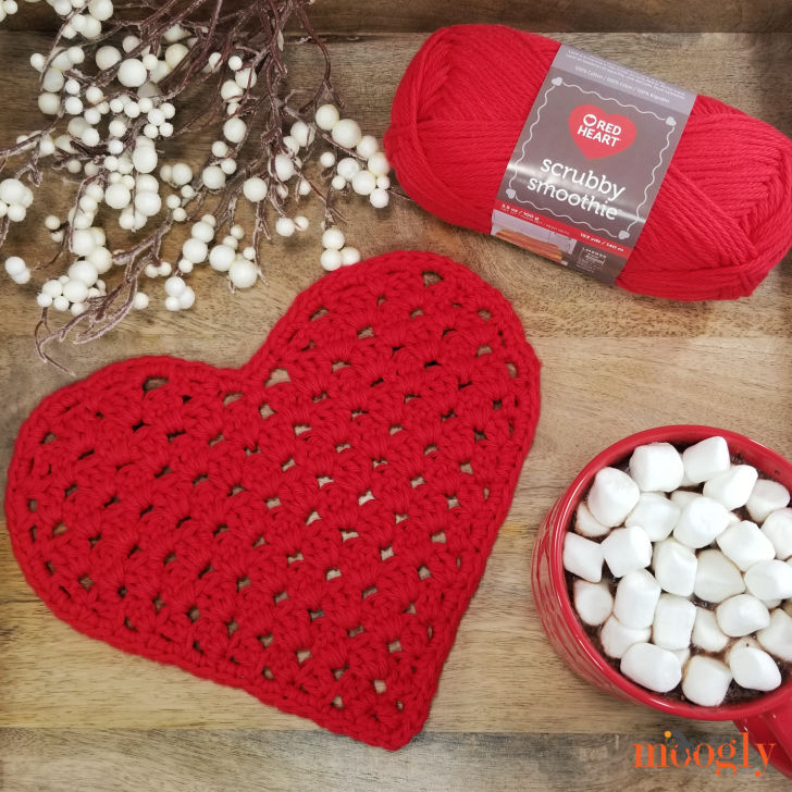 Heart Shaped Cloth with Red Heart Scrubby Smoothie