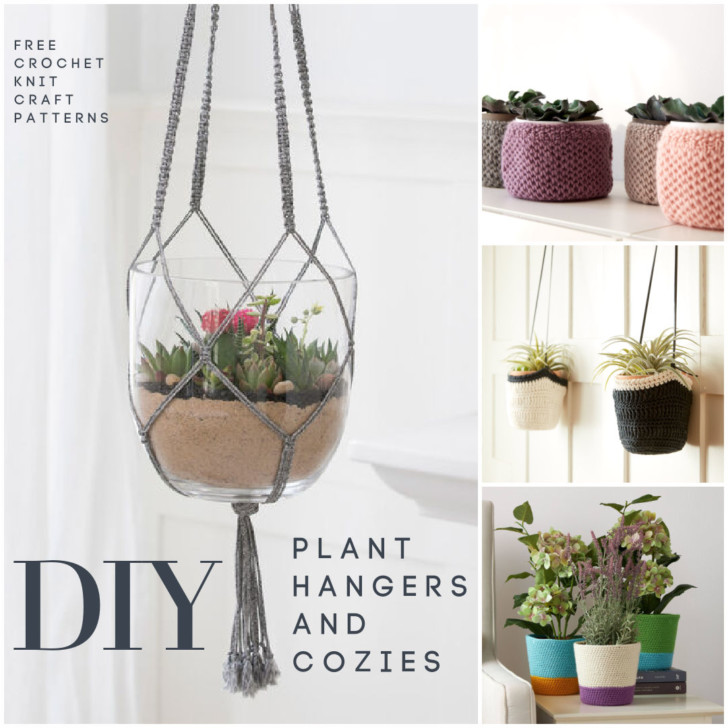 Make Your Own Plant Hangers and Cozies - Free Patterns on Moogly