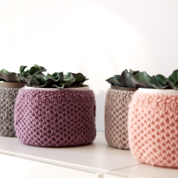 Patons Knit Plant Cozies