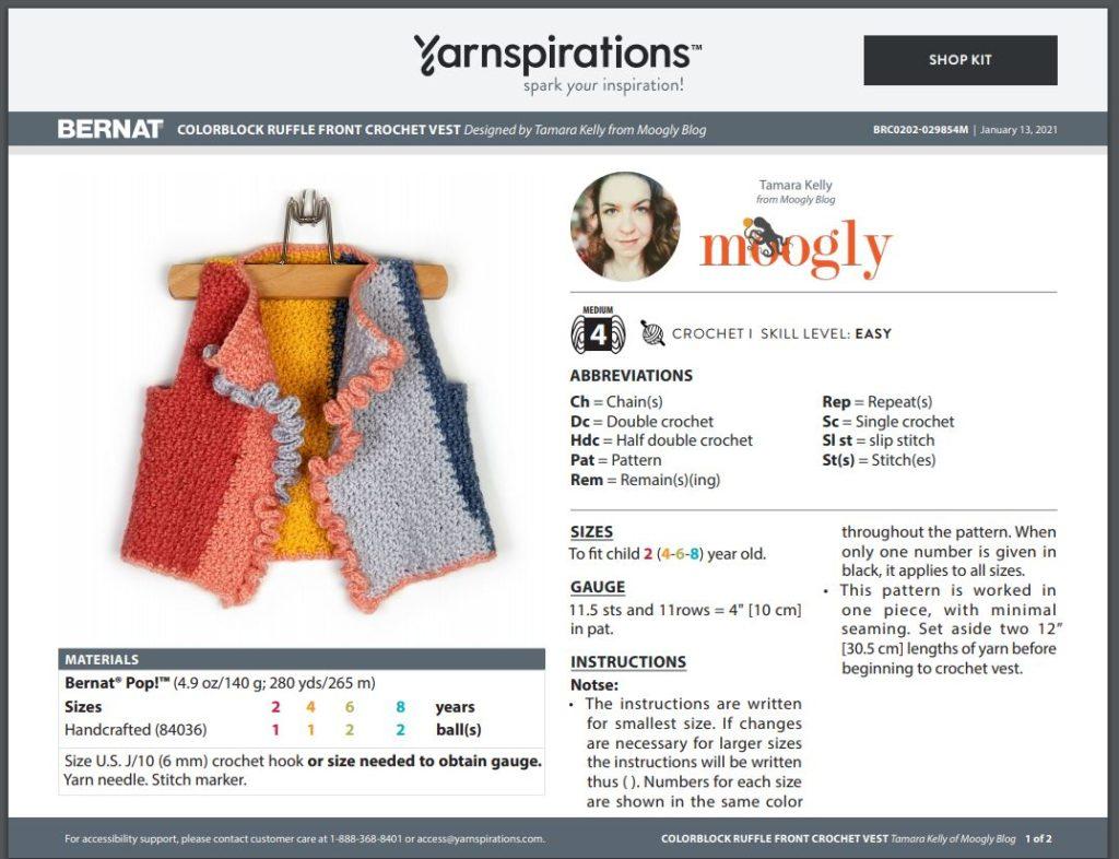 Bernat Colorblock Ruffle Front Crochet Vest by Moogly