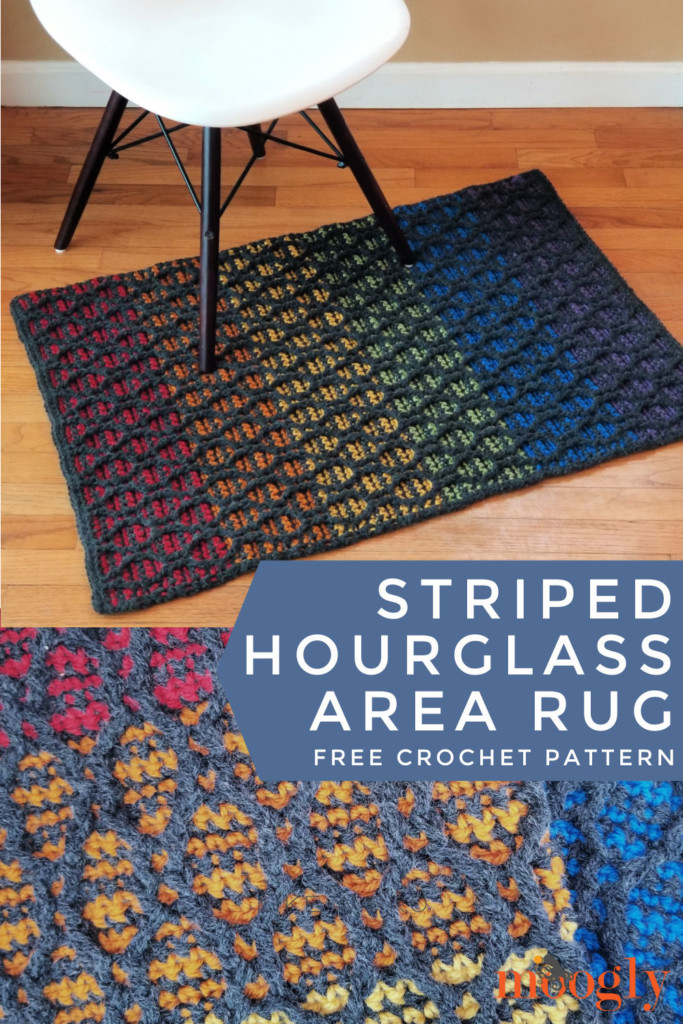 Striped Hourglass Area Rug - free crochet pattern on Moogly - pinterest collage