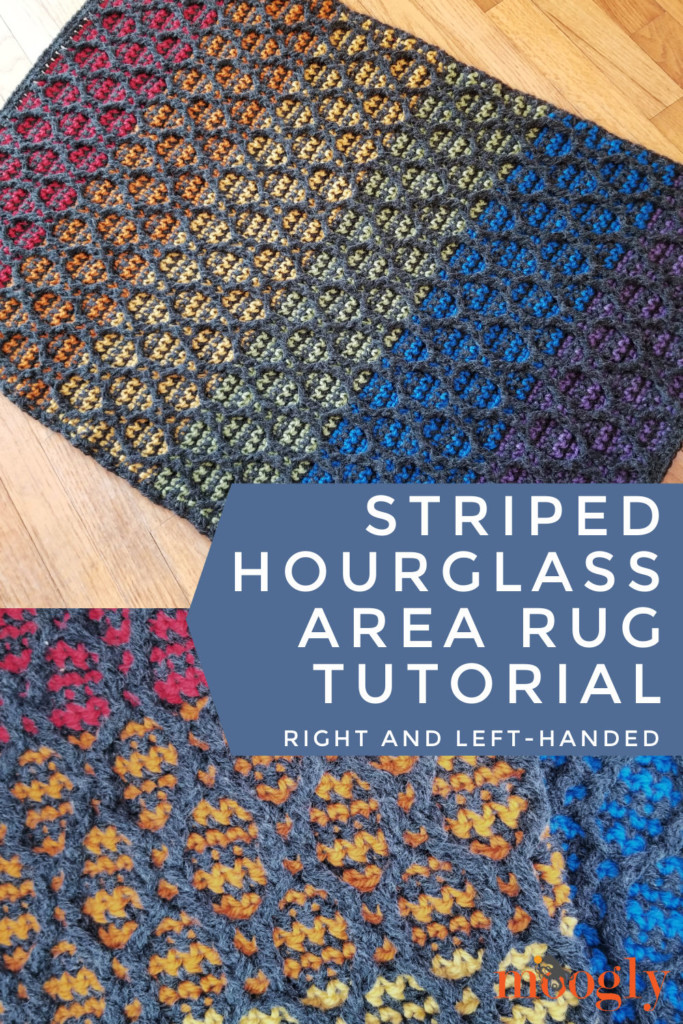 Striped Hourglass Area Rug Tutorial Pinterest Collage