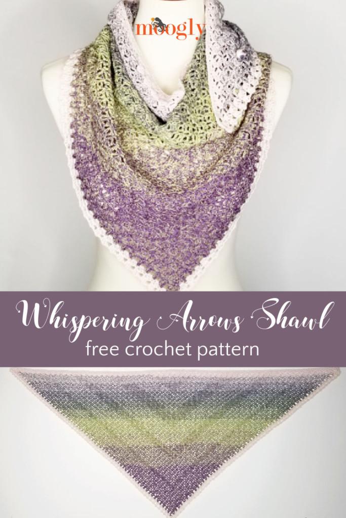 Whispering Arrows Shawl - free crochet pattern on Moogly