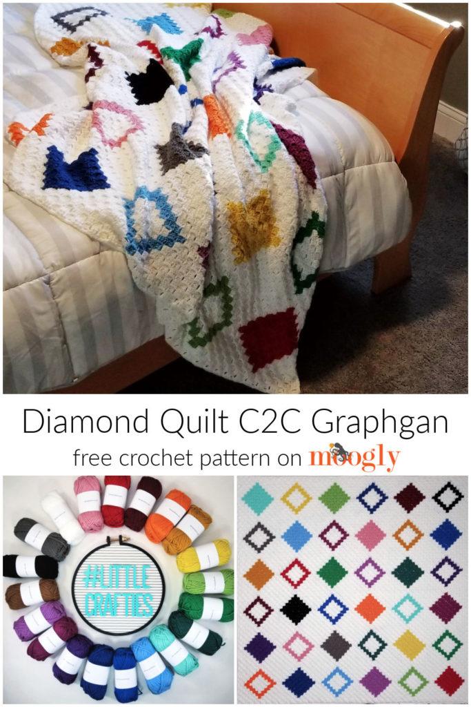 Diamond Quilt C2C Graphgan - free pattern on Mooglyblog.com
