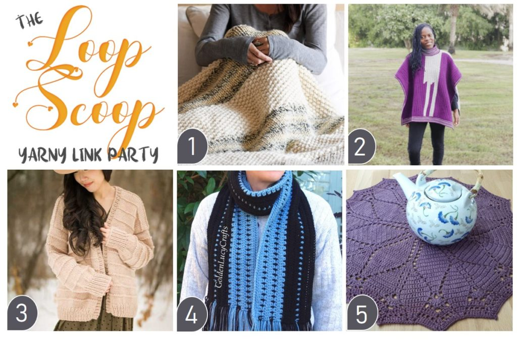 Loop Scoop #7 - collage of featured patterns on Moogly and Petals to Picots