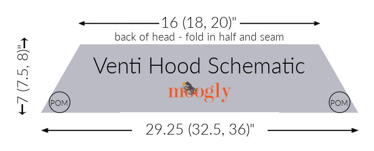 Venti Hood Schematic - free crochet pattern on Moogly