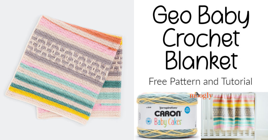 Caron Geo Baby Crochet Blanket - get the pattern and tutorial on Moogly