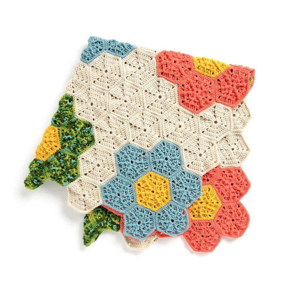 Caron Crochet Flower Patch Throw