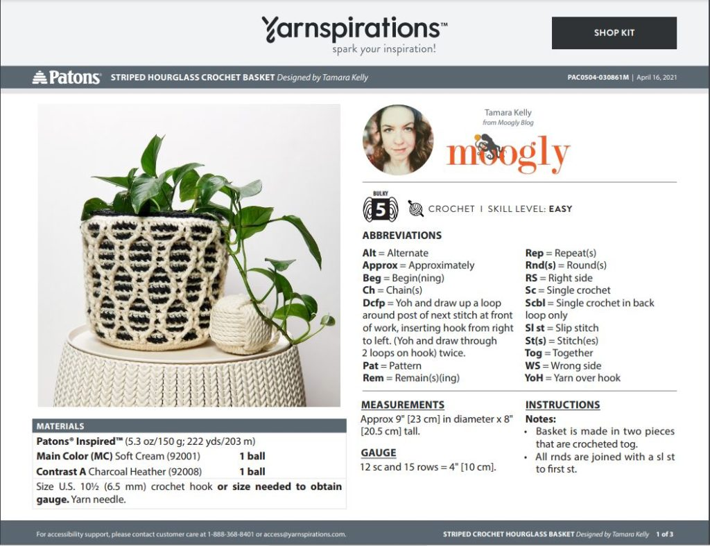 Striped Hourglass Basket Pattern PDF first page