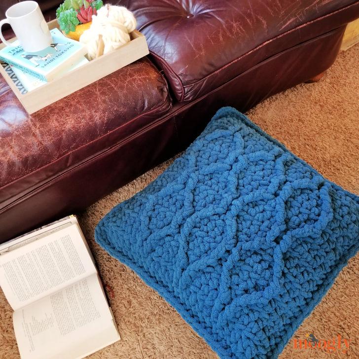 Plush Hourglass Floor Pillow - on floor