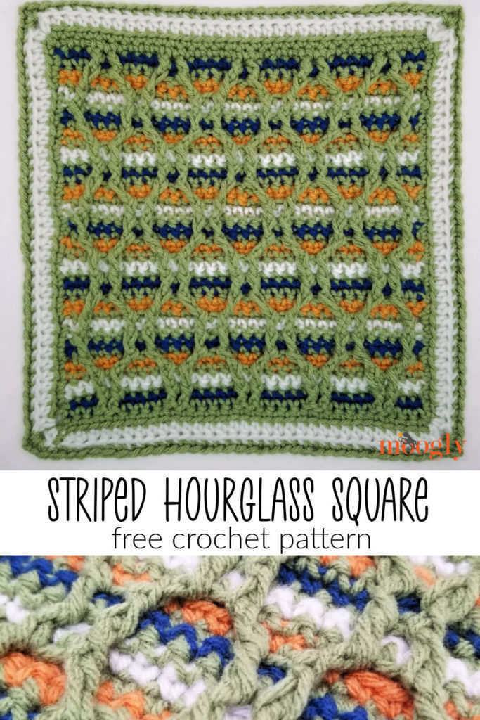 Striped Hourglass Square - free crochet pattern on Moogly