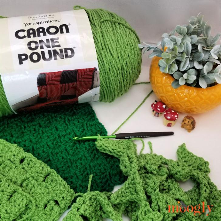 Cuddle Up Dinosaur Blanket - free crochet pattern on Moogly - work in progress