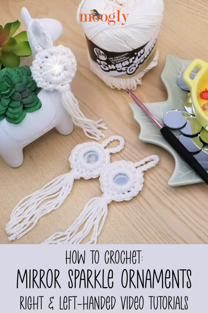 Mirror Sparkle Ornament Tutorial - Learn how to crochet this cute boho style ornament on Moogly!