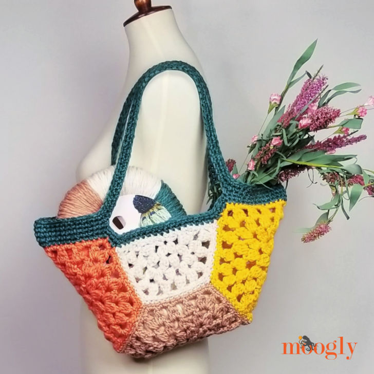 Granny Hex Tote - filled on mannequin