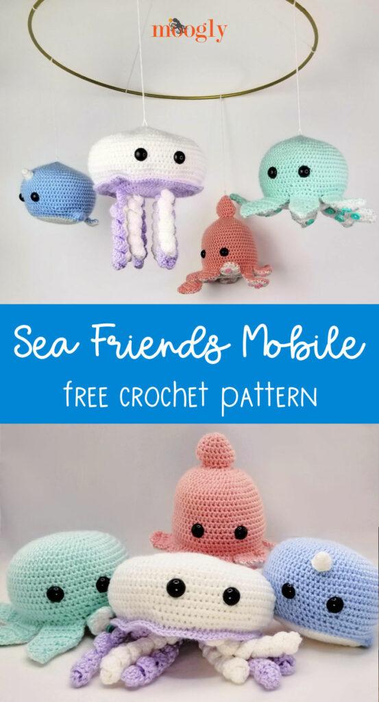 Sea Friends Mobile - free crochet pattern on Moogly