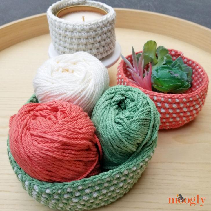 Crochet Cord Nesting Bowls - filledset
