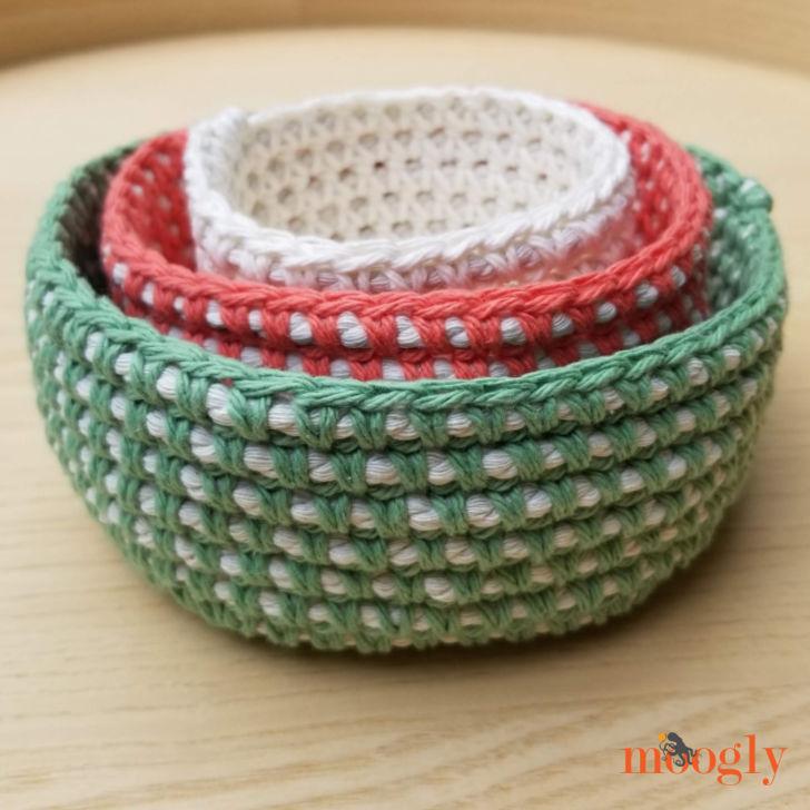 Crochet Cord Nesting Bowls - stacked set